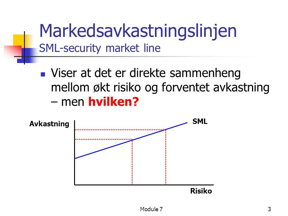 Module 73 Markedsavkastningslinjen SML-security market line  Viser at det er direkte sammenheng mellom økt risiko og forventet avkastning – men hvilk