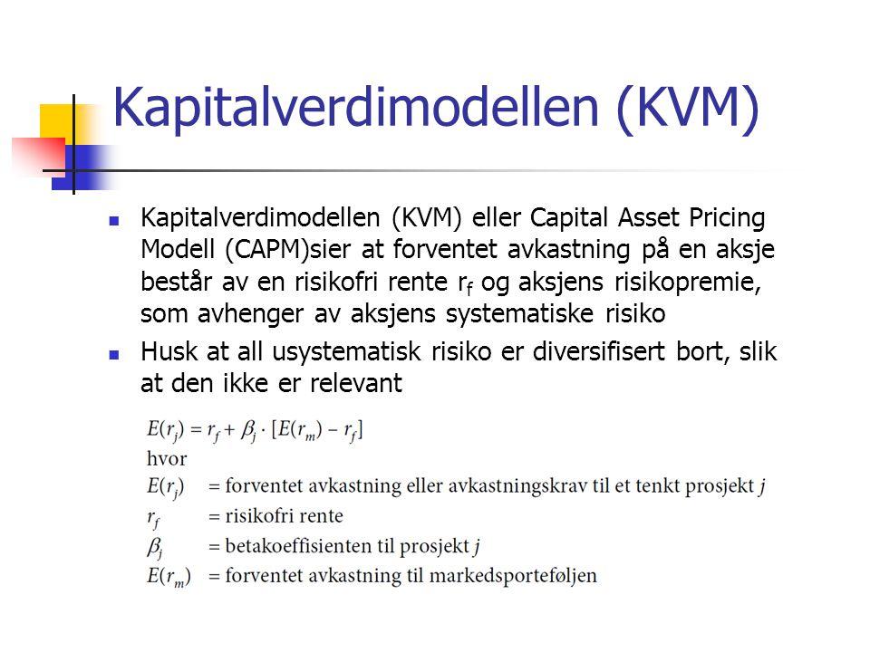 Kapitalverdimodellen (KVM)  Kapitalverdimodellen (KVM) eller Capital Asset Pricing Modell (CAPM)sier at forventet avkastning på en aksje består av en
