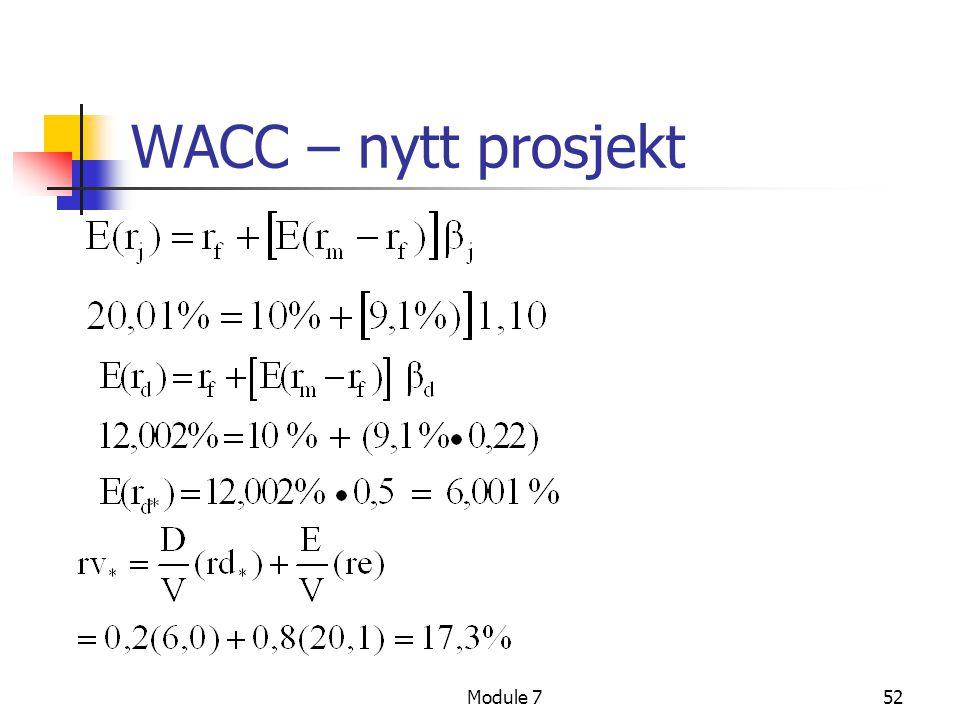 Module 752 WACC – nytt prosjekt