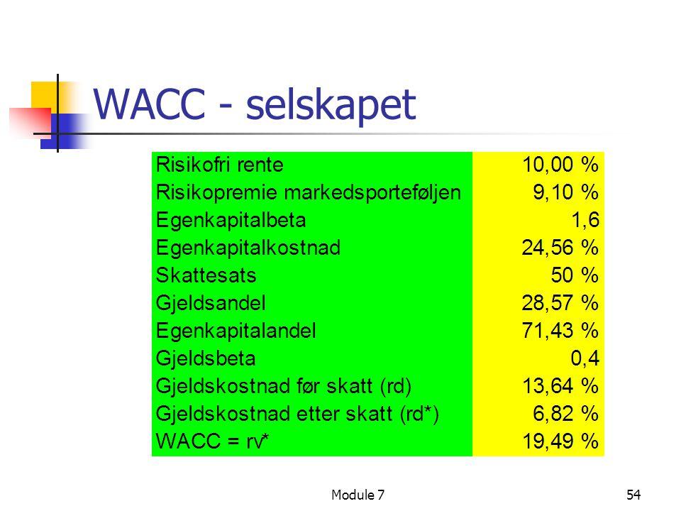 Module 754 WACC - selskapet