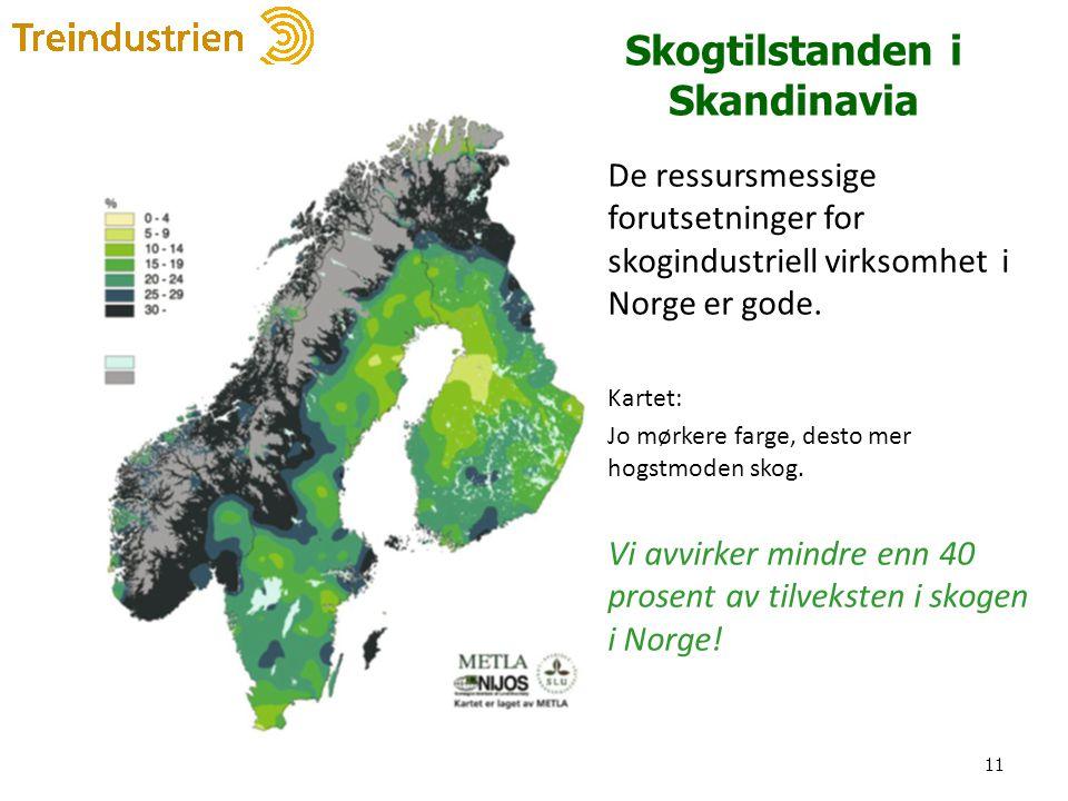 Skogtilstanden i Skandinavia De ressursmessige forutsetninger for skogindustriell virksomhet i Norge er gode. Kartet: Jo mørkere farge, desto mer hogs