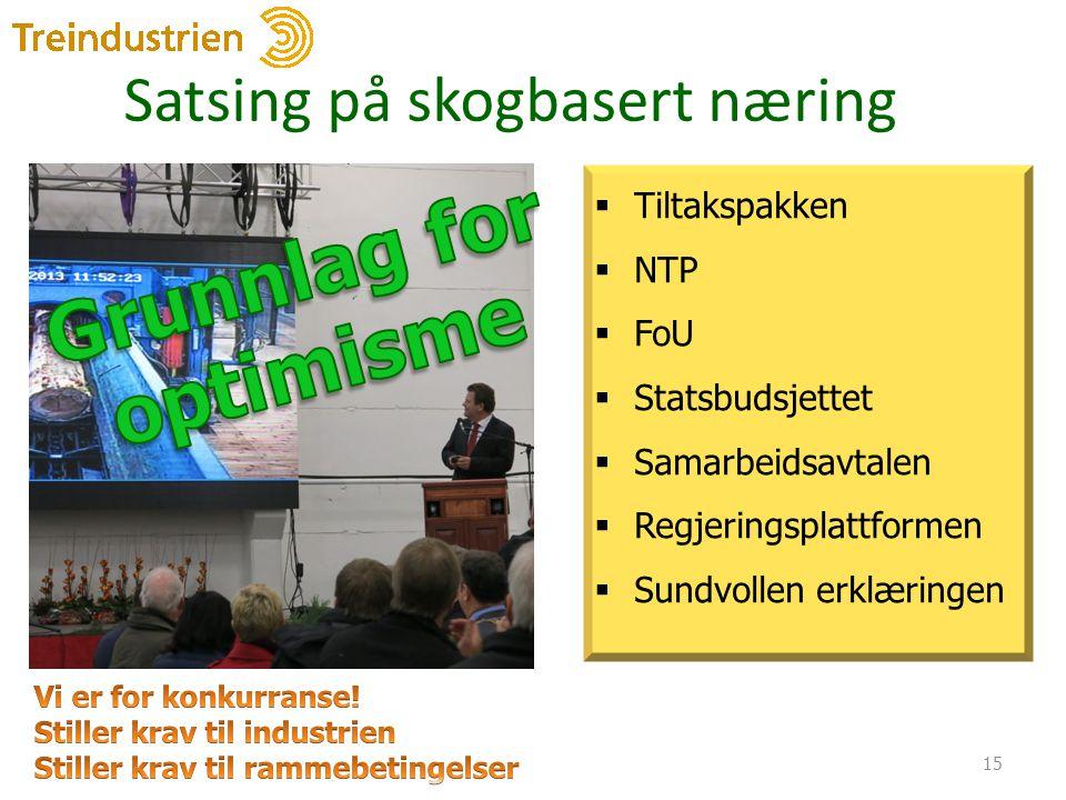 Satsing på skogbasert næring 15  Tiltakspakken  NTP  FoU  Statsbudsjettet  Samarbeidsavtalen  Regjeringsplattformen  Sundvollen erklæringen