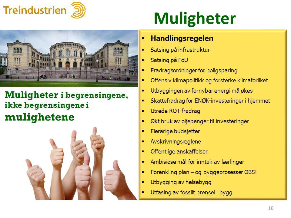 Muligheter 18  Handlingsregelen  Satsing på infrastruktur  Satsing på FoU  Fradragsordninger for boligsparing  Offensiv klimapolitikk og forsterk