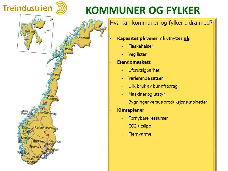 KOMMUNER OG FYLKER 30 Hva kan kommuner og fylker bidra med? -Kapasitet på veier må utnyttes nå: -Flaskehalser -Veg lister -Eiendomsskatt -Uforutsigbar