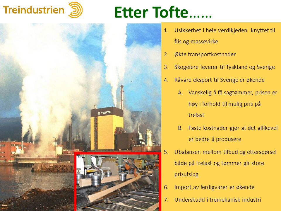 Etter Tofte…… 8 1.Usikkerhet i hele verdikjeden knyttet til flis og massevirke 2.Økte transportkostnader 3.Skogeiere leverer til Tyskland og Sverige 4
