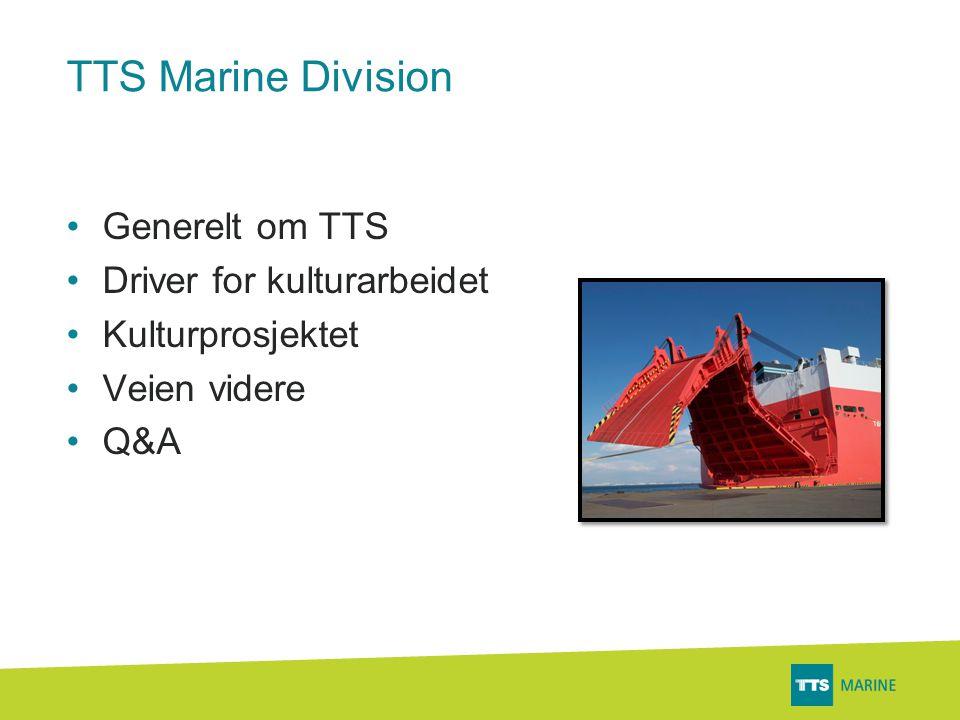 TTS Marine Division •Generelt om TTS •Driver for kulturarbeidet •Kulturprosjektet •Veien videre •Q&A