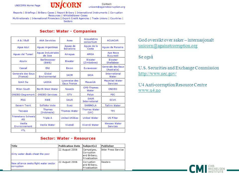 God oversikt over saker – internasjonalt unicorn@againstcorruption.org Se også U.S.