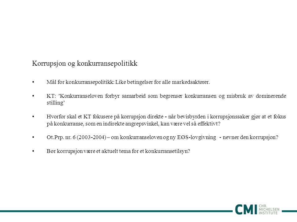 Korrupsjon og konkurransepolitikk •Mål for konkurransepolitikk: Like betingelser for alle markedsaktører.