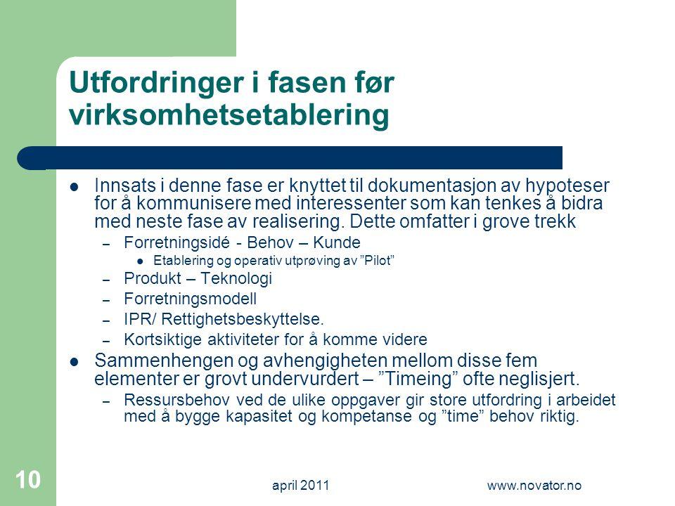 april 2011www.novator.no 10 Utfordringer i fasen før virksomhetsetablering  Innsats i denne fase er knyttet til dokumentasjon av hypoteser for å komm