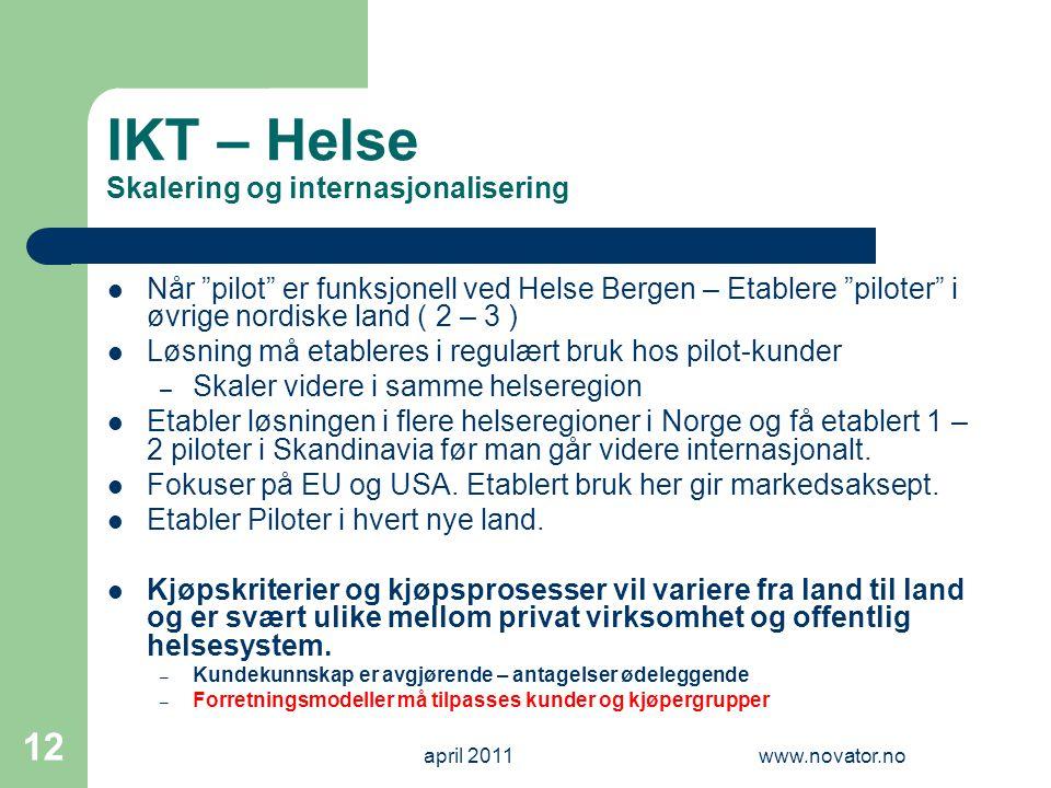 """april 2011www.novator.no 12 IKT – Helse Skalering og internasjonalisering  Når """"pilot"""" er funksjonell ved Helse Bergen – Etablere """"piloter"""" i øvrige"""
