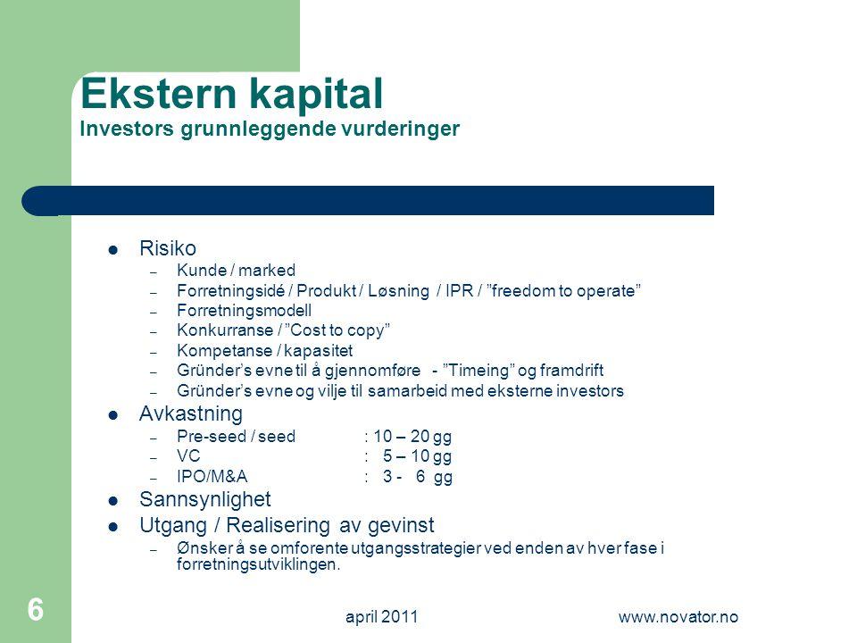 april 2011www.novator.no 6 Ekstern kapital Investors grunnleggende vurderinger  Risiko – Kunde / marked – Forretningsidé / Produkt / Løsning / IPR /