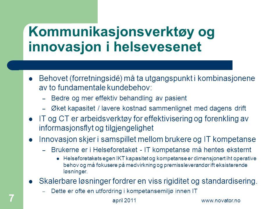 Kommunikasjonsverktøy og innovasjon i helsevesenet  Behovet (forretningsidé) må ta utgangspunkt i kombinasjonene av to fundamentale kundebehov: – Bed