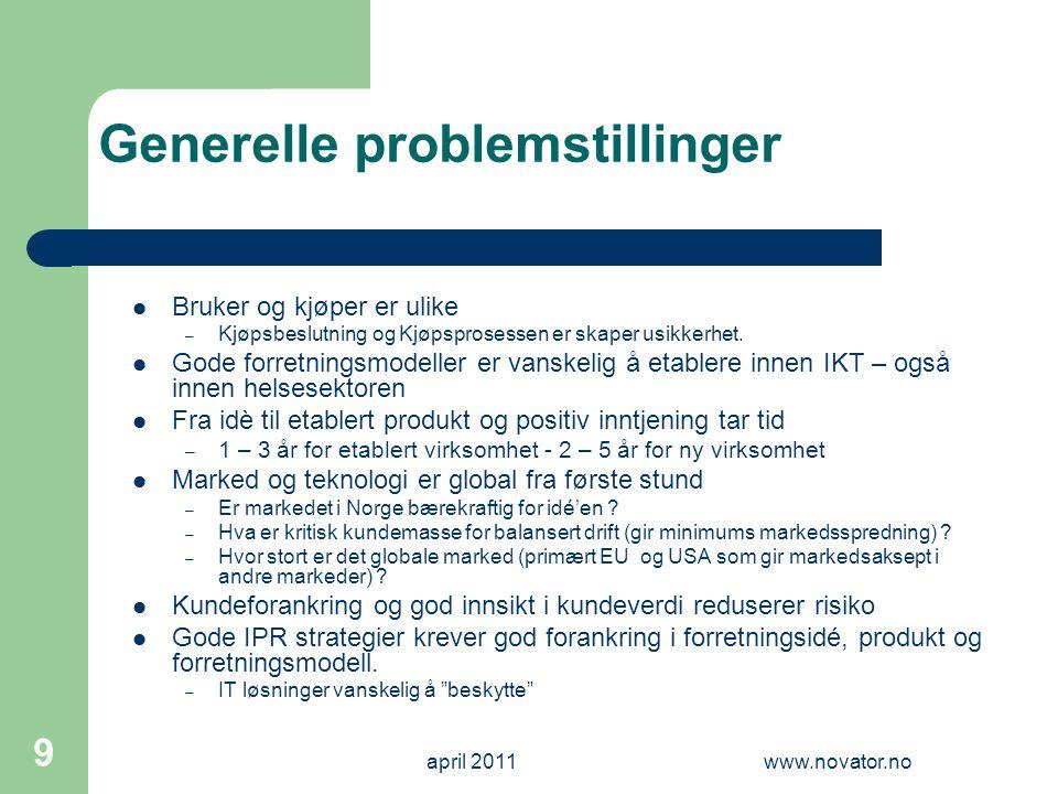 april 2011www.novator.no 9 Generelle problemstillinger  Bruker og kjøper er ulike – Kjøpsbeslutning og Kjøpsprosessen er skaper usikkerhet.  Gode fo