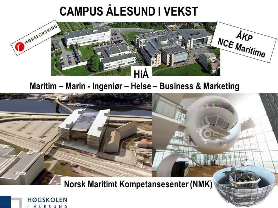 CAMPUS ÅLESUND I VEKST ÅKP NCE Maritime Maritim – Marin - Ingeniør – Helse – Business & Marketing Norsk Maritimt Kompetansesenter (NMK) HiÅ