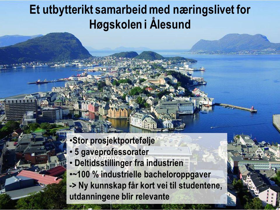 Et utbytterikt samarbeid med næringslivet for Høgskolen i Ålesund • Stor prosjektportefølje • 5 gaveprofessorater • Deltidsstillinger fra industrien • ~100 % industrielle bacheloroppgaver -> Ny kunnskap får kort vei til studentene, utdanningene blir relevante