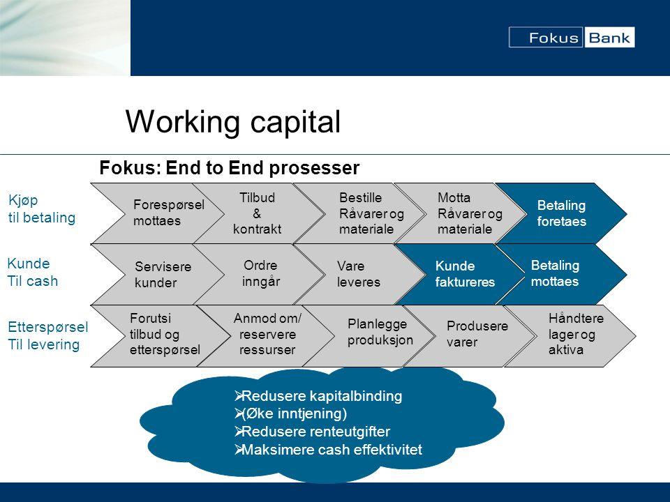 Working capital Kjøp til betaling Kunde Til cash  Redusere kapitalbinding  (Øke inntjening)  Redusere renteutgifter  Maksimere cash effektivitet F
