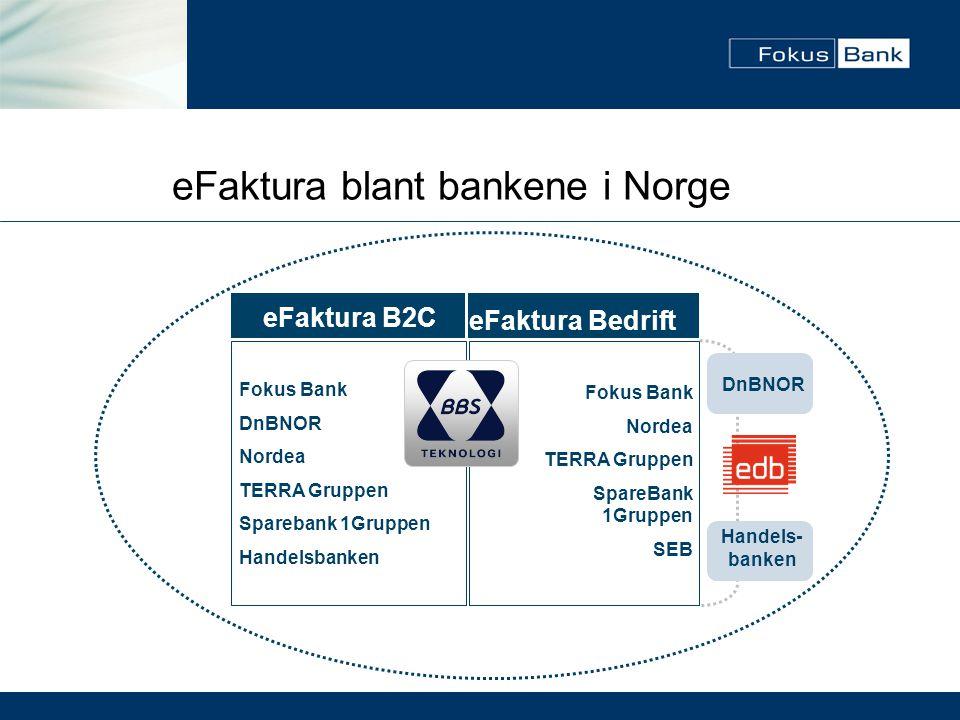eFaktura B2C Fokus Bank DnBNOR Nordea TERRA Gruppen Sparebank 1Gruppen Handelsbanken eFaktura Bedrift Fokus Bank Nordea TERRA Gruppen SpareBank 1Grupp