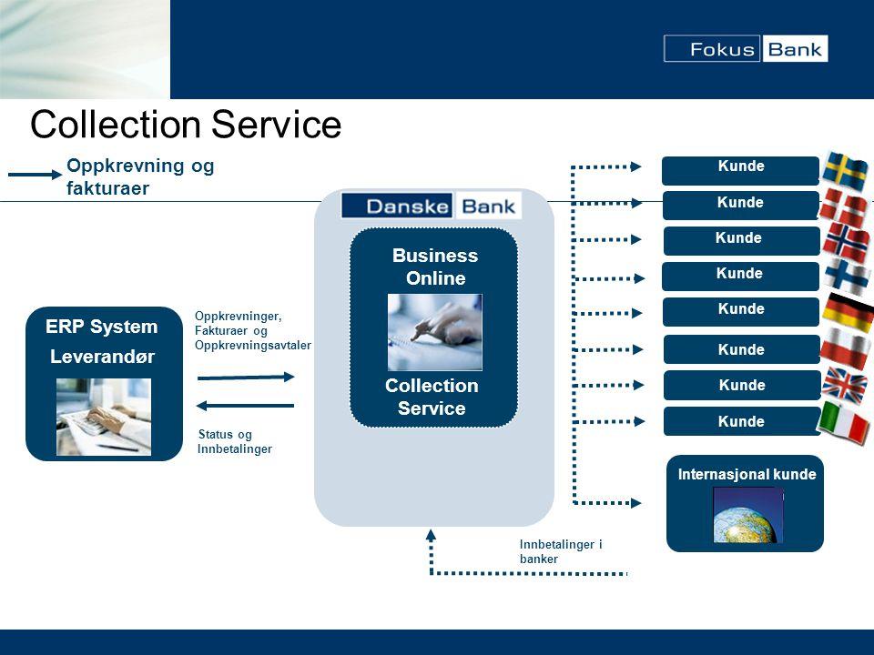 Collection Service Oppkrevning og fakturaer Kunde Internasjonal kunde ERP System Leverandør Kunde Business Online Collection Service Kunde Status og I