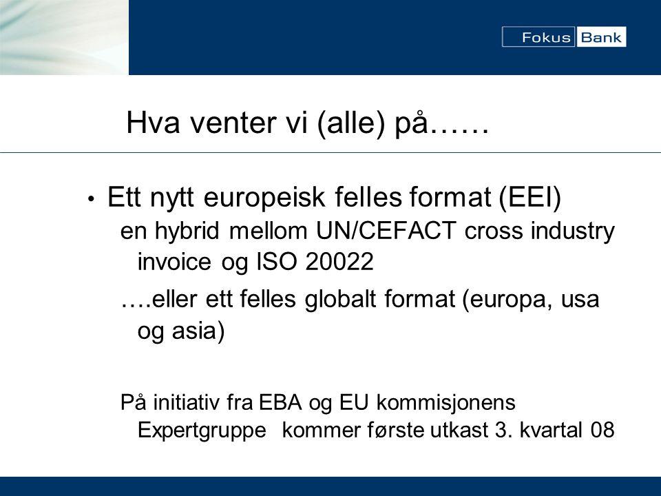 Hva venter vi (alle) på…… • Ett nytt europeisk felles format (EEI) en hybrid mellom UN/CEFACT cross industry invoice og ISO 20022 ….eller ett felles g