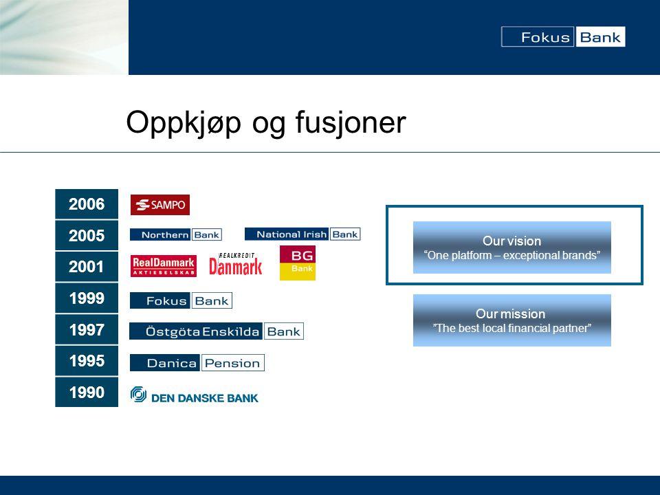 """Oppkjøp og fusjoner 2006 2005 2001 1999 1997 1995 1990 Our mission """"The best local financial partner"""" Our vision """"One platform – exceptional brands"""""""