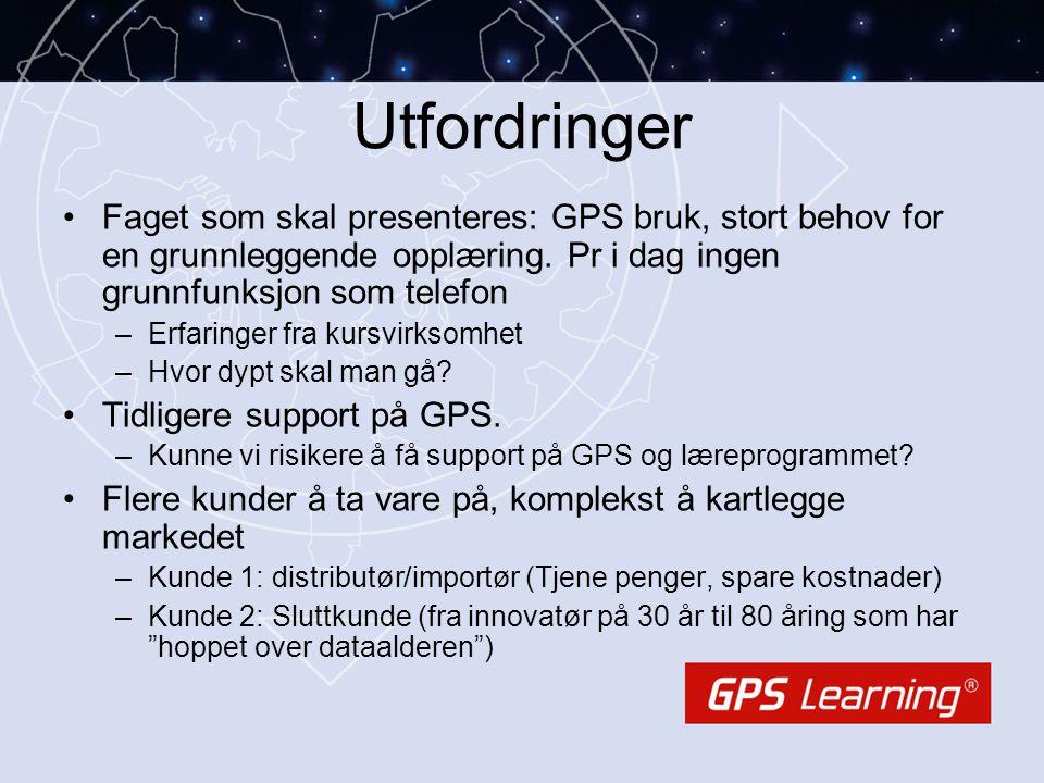 Utfordringer •Faget som skal presenteres: GPS bruk, stort behov for en grunnleggende opplæring. Pr i dag ingen grunnfunksjon som telefon –Erfaringer f