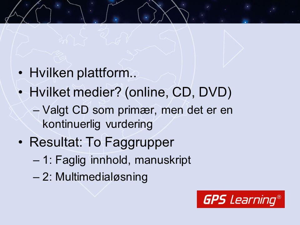 •Hvilken plattform.. •Hvilket medier? (online, CD, DVD) –Valgt CD som primær, men det er en kontinuerlig vurdering •Resultat: To Faggrupper –1: Faglig