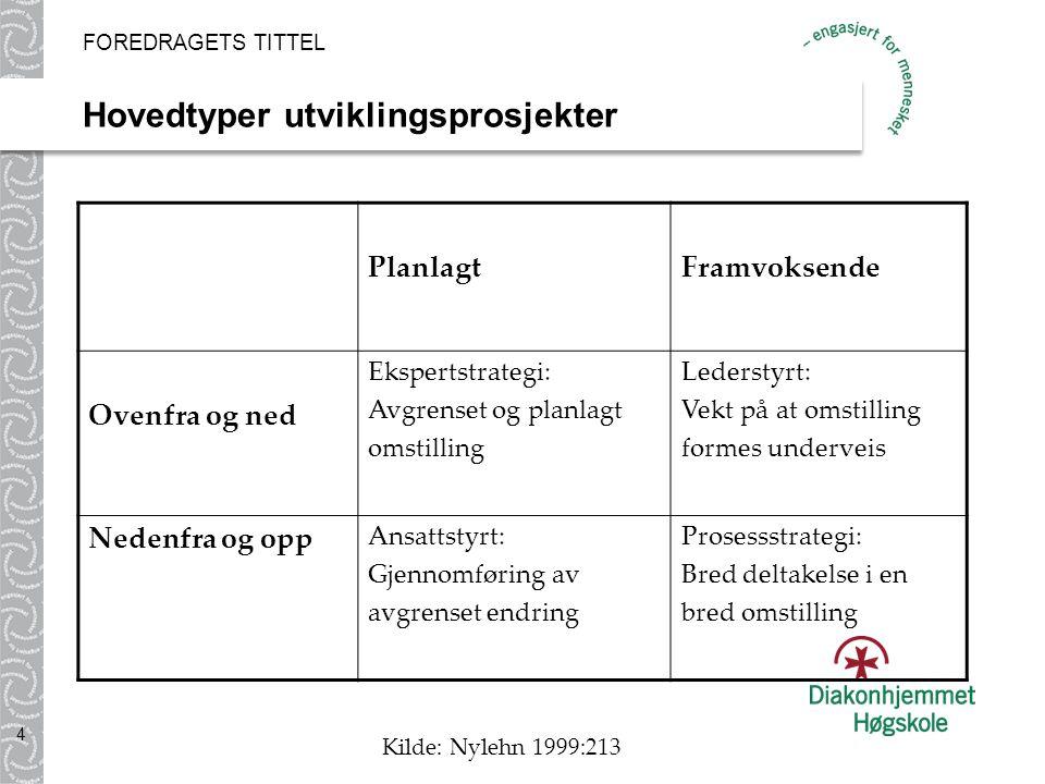 Hovedtyper utviklingsprosjekter FOREDRAGETS TITTEL 4 PlanlagtFramvoksende Ovenfra og ned Ekspertstrategi: Avgrenset og planlagt omstilling Lederstyrt: