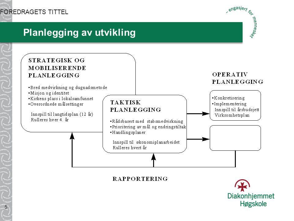Planlegging av utvikling 5 FOREDRAGETS TITTEL