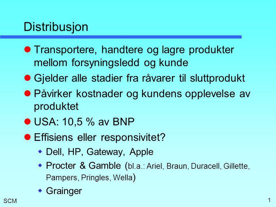 SCM 2 Krav til distribusjonen  Kundebehov  Responstid - hastighet  Antall produktvarianter  Produkttilgjengelighet  Kundeopplevelse (enkelhet, service)  Lanseringstid (Time to Market)  Ordrevisibilitet (tracking)  Returnering  Kostnad