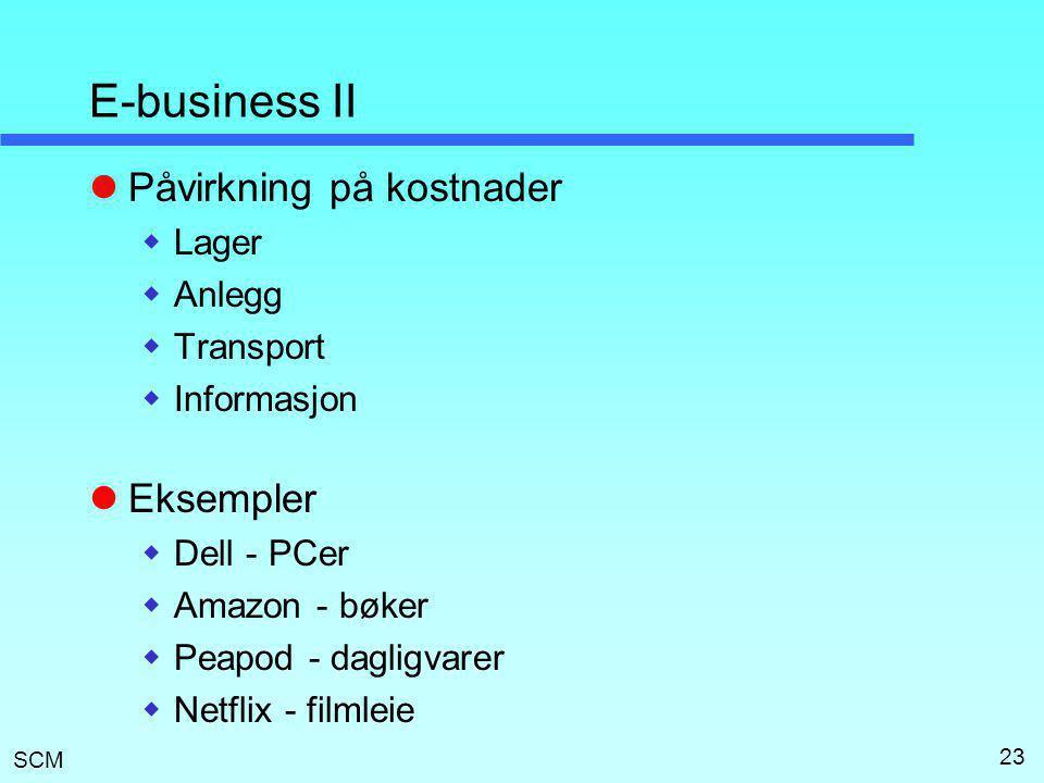 SCM 23 E-business II  Påvirkning på kostnader  Lager  Anlegg  Transport  Informasjon  Eksempler  Dell - PCer  Amazon - bøker  Peapod - daglig