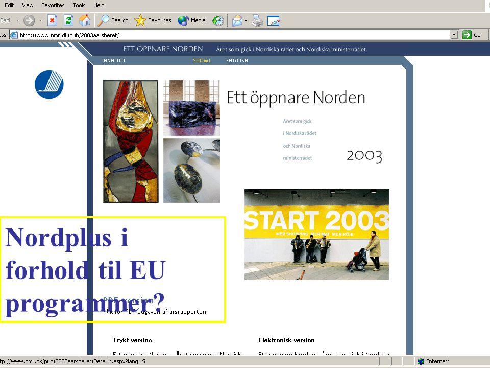 Nordplus i forhold til EU programmer