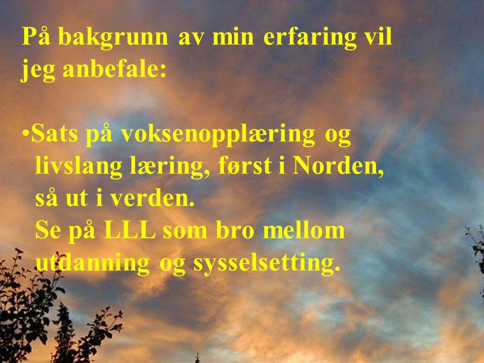 På bakgrunn av min erfaring vil jeg anbefale: •Sats på voksenopplæring og livslang læring, først i Norden, så ut i verden.