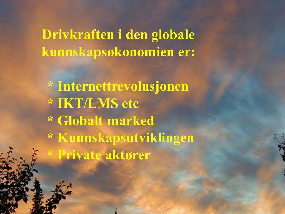 Drivkraften i den globale kunnskapsøkonomien er: * Internettrevolusjonen * IKT/LMS etc * Globalt marked * Kunnskapsutviklingen * Private aktører