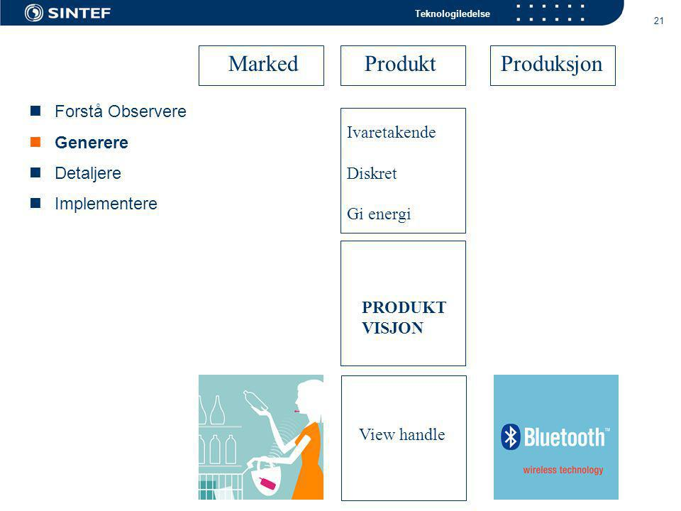 Teknologiledelse 21 View handle PRODUKT VISJON Ivaretakende Diskret Gi energi  Forstå Observere  Generere  Detaljere  Implementere Marked ProduktProduksjon