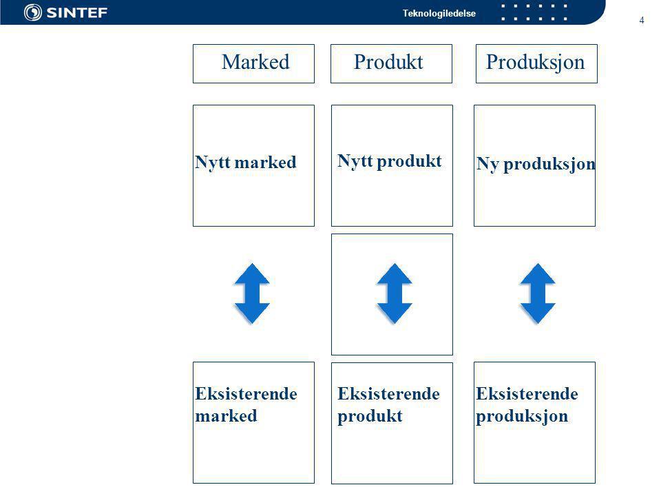 Teknologiledelse 4 Marked ProduktProduksjon Nytt marked Nytt produkt Ny produksjon Eksisterende marked Eksisterende produksjon Eksisterende produkt