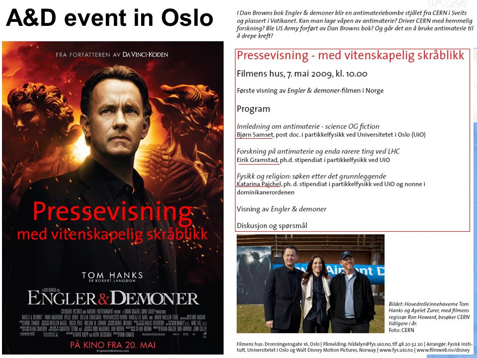 A&D event in the media Articles written by journalists • Antimaterie – i virkiligheten , I.