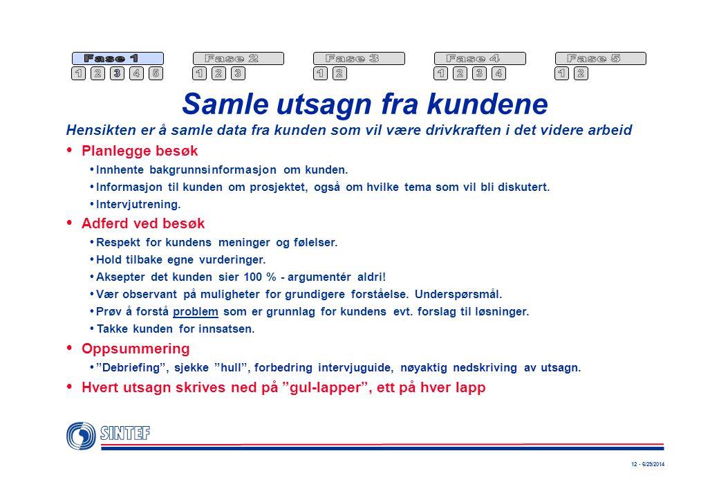 12 - 6/29/2014 Samle utsagn fra kundene  Planlegge besøk  Innhente bakgrunnsinformasjon om kunden.  Informasjon til kunden om prosjektet, også om h
