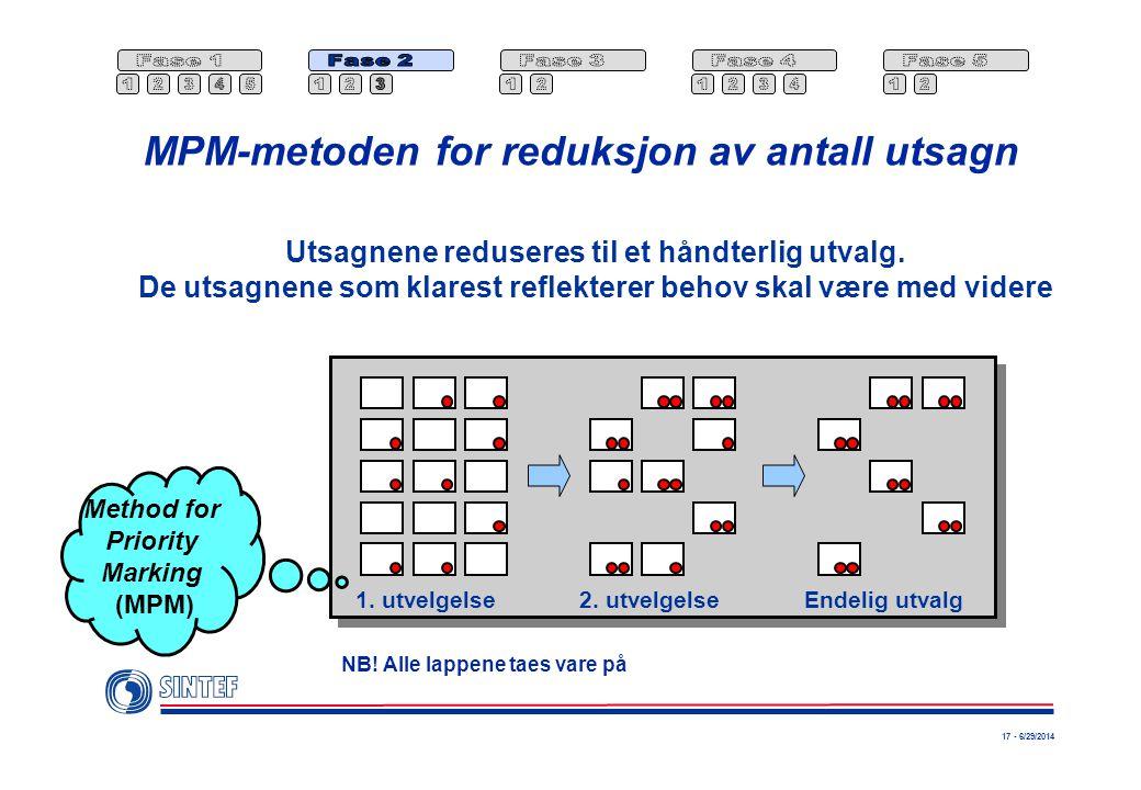 17 - 6/29/2014 MPM-metoden for reduksjon av antall utsagn Utsagnene reduseres til et håndterlig utvalg.