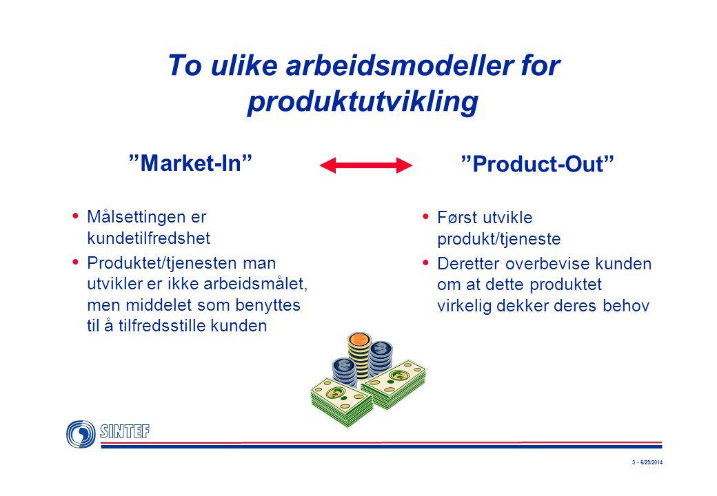 """3 - 6/29/2014 To ulike arbeidsmodeller for produktutvikling """"Market-In""""  Målsettingen er kundetilfredshet  Produktet/tjenesten man utvikler er ikke"""