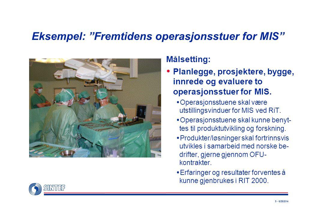 9 - 6/29/2014 Eksempel: Fremtidens operasjonsstuer for MIS Målsetting:  Planlegge, prosjektere, bygge, innrede og evaluere to operasjonsstuer for MIS.