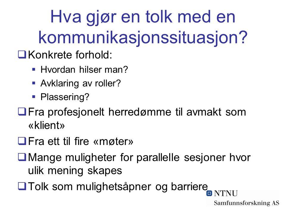 Hva gjør en tolk med en kommunikasjonssituasjon. Konkrete forhold:  Hvordan hilser man.