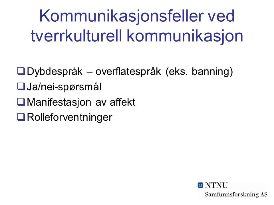 Kommunikasjonsfeller ved tverrkulturell kommunikasjon  Dybdespråk – overflatespråk (eks.