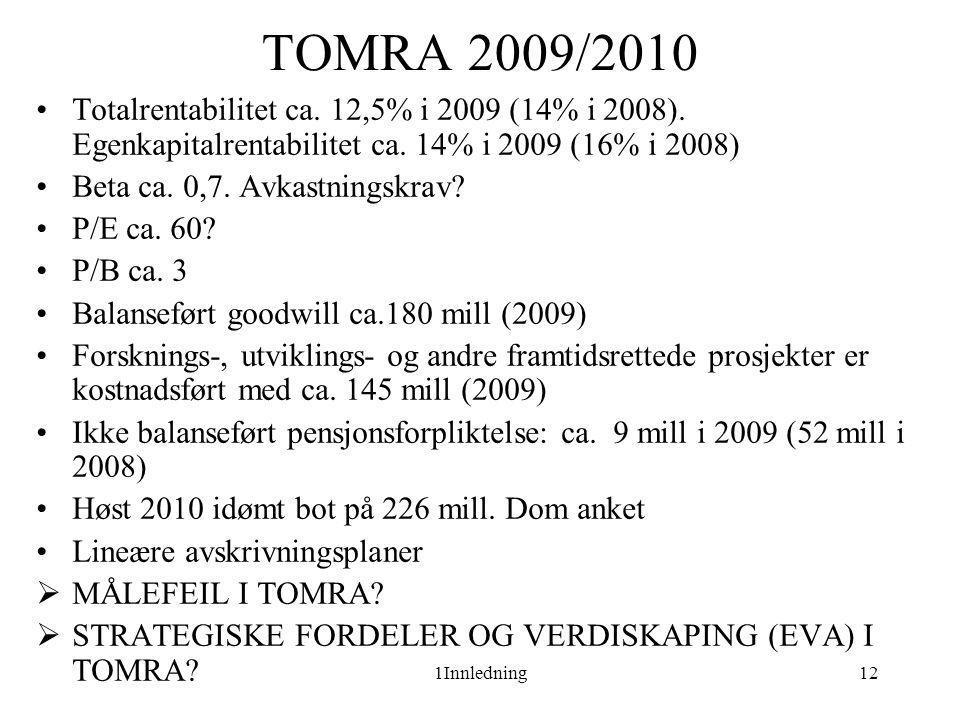 1Innledning12 TOMRA 2009/2010 •Totalrentabilitet ca. 12,5% i 2009 (14% i 2008). Egenkapitalrentabilitet ca. 14% i 2009 (16% i 2008) •Beta ca. 0,7. Avk