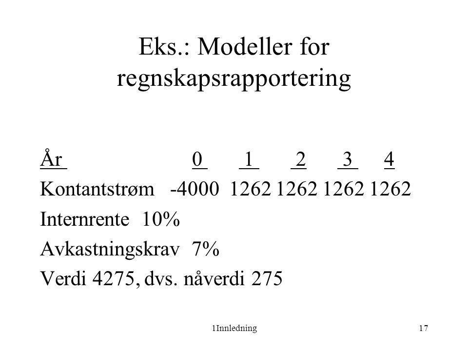 1Innledning17 Eks.: Modeller for regnskapsrapportering År 0 1 2 3 4 Kontantstrøm -4000 1262 1262 1262 1262 Internrente 10% Avkastningskrav 7% Verdi 42