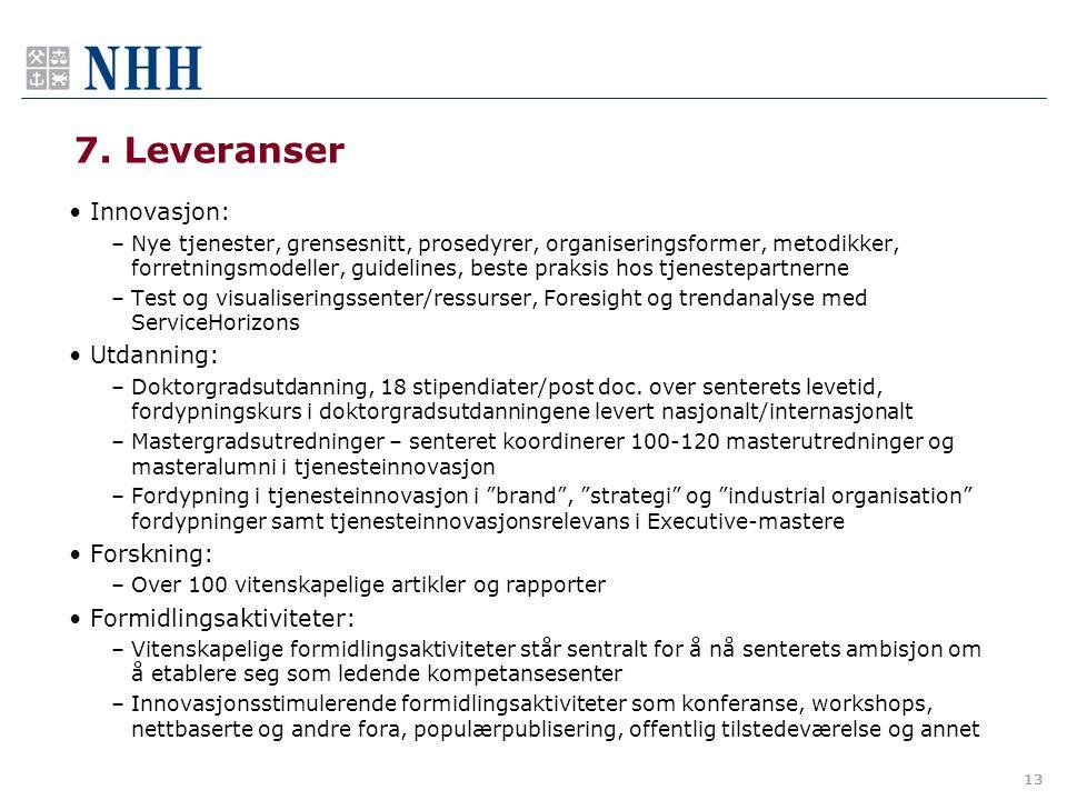 7. Leveranser •Innovasjon: –Nye tjenester, grensesnitt, prosedyrer, organiseringsformer, metodikker, forretningsmodeller, guidelines, beste praksis ho