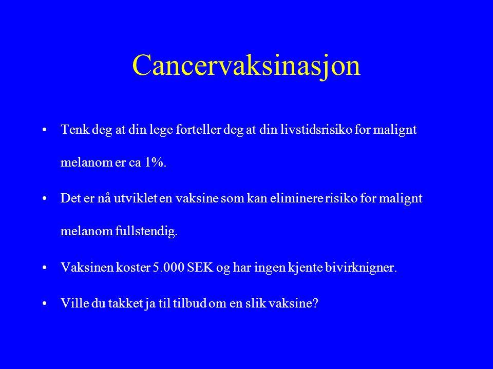 Cancervaksinasjon •Tenk deg at din lege forteller deg at din livstidsrisiko for malignt melanom er ca 1%.