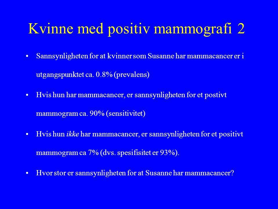 Kvinne med positiv mammografi 2 •Sannsynligheten for at kvinner som Susanne har mammacancer er i utgangspunktet ca. 0.8% (prevalens) •Hvis hun har mam