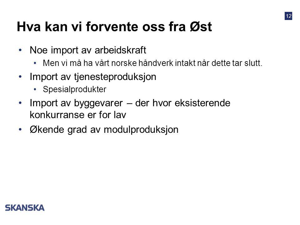 12 Hva kan vi forvente oss fra Øst •Noe import av arbeidskraft •Men vi må ha vårt norske håndverk intakt når dette tar slutt.