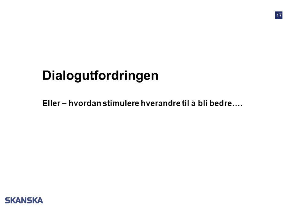 17 Dialogutfordringen Eller – hvordan stimulere hverandre til å bli bedre….