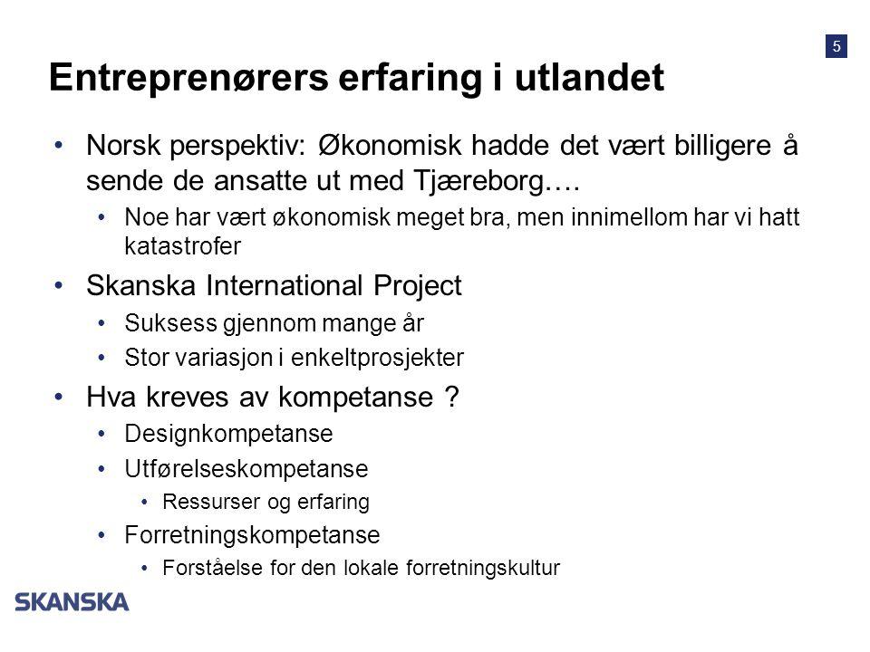 5 Entreprenørers erfaring i utlandet •Norsk perspektiv: Økonomisk hadde det vært billigere å sende de ansatte ut med Tjæreborg….
